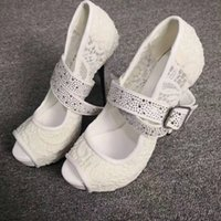 Handmade Real Pictures Ladies High Heels Dress Shoes Lace Leather Mary Janes Style Sexy Platform Wedding Party Prom Fashion Court Pumps D652