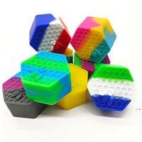 육각형 실리콘 컨테이너 26ml 농축 물 저장 용기 왁스 캔 Dabber Tins vape 오일 박스 실리콘 홀더 케이스 HWF6104