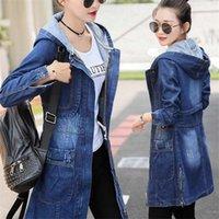 Women's Jackets Women Hooded Denim Jacket Female Spring Autumn Fashion Jeans Coat Cowboy Overcoat Coats Windbreaker C518