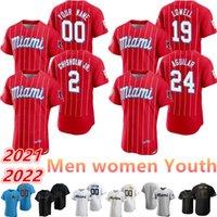 2021 Пользовательские Майами Джерси 2 Джаз Джаз Chisholm JR 212 22 22 Marlins 15 Brian Anderson 19 Miguel Rojas 24 Isus Aguil Men Женщины Молодежь Бейсбол