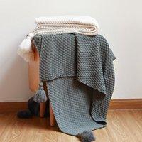 Cor Sólida Lance Cobertor de Malha Sofá Capa Escritório Lunch Lazer Para Cama Quarto Espalhar Nordic Simplicidade xaile Cobertores