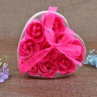 9pcs profumato rosa fiore petalo bouquet di San Valentino giorno a forma di cuore scatola regalo bagno body sapone festa di cerimonia nuziale con favore 9Cs / lot 1297 V2