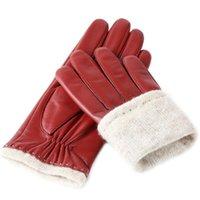 Пять пальцев перчатки Feiqiaoh Последняя мода натуральная кожа для женщин 2021 бренд дизайн красный приводной сенсорный экран перчатки теплые плюшевые выстроились LUV