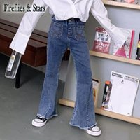 Spring Autumn Girls Jeans Baby Denim Pants Kids Flare Trousers Children Bottoms Fashion High Waist Pockets 4 To 14 Yrs