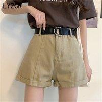 Lyzcr широкие ноги джинсовые шорты для женщин летние с высокой талией джинсы повседневные Свободные джинсы белые Kahki 210714