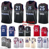 남자 아이들 Joel 21 embiaid basketball jerseys 벤 25 Simmons Allen 3 Iverson 2021 Swingman City Jersey Edition 화이트 레드 청소년 S-2XL