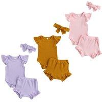 Clothing Sets FOCUSNORM 0-18M Summer Baby Girls Boys Clothes 3pcs Solid Ruffles Sleeve Romper Tops Shorts Headband 3 Color