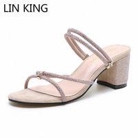 Лин король Новый стиль Женщины Тапочки Летние Обувь Женщины Сандалии Ctrstal Квадратный Каблук Дамы Открытый Повседневная Сандалии Тапочки L3ac #