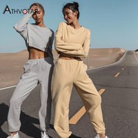 Women's Two Piece Pants ATHVOTAR Set Women High Waist Long Sleeve Top And Gym Fitness Tracksuits Sweat Suits