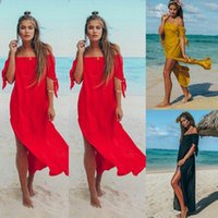 Women's Swimwear Sexy Off Shoulder Women Tunic Beach Dress Swim Suit Short Sleeve Solid Cover Up Summer Maxi Dresses For Swimsuits