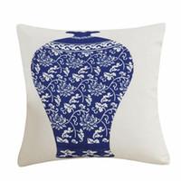 Подушка / декоративная подушка высокого качества хлопчатобумажная льняная крышка китайский стиль декоративные подушки ретро синие и белые фарфоровые флоры рисунки45x