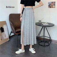 Skirts Side Split High Waist Lace Up Skirt Women Solid Color Casual Fashion Mid Calf Korean Style Faldas Mujer