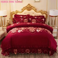Conjuntos de ropa de cama Funda de edredón floral Reina King Tamaño 4/6pcs Velvet Shaggy Soft Warm Winter Edredent Cuelga acolchada