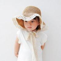 Fashions Ins verano sombreros de encaje para niñas Paja Kids Baby Lace-Up Cubo Sombrero Hecho A Mano Mano Panamá Vacaciones Playa Caps