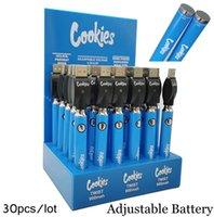 30 stks / partij Cookies Batterij 900 MAH Voltage Variabele batterijen Pen met USB-oplader Fit 510 Vaporizer Cartridge Display toonde verpakking