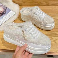 Slippers Women Soft Botas Pearl Wedges Pumps 2022 Winter Designer Fur Home Cotton Boots Casual Warm Flip Flops Shoes