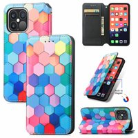 Rainbow Lattice PU TPU Leather Wallet Cell Phone Cases Cover Magnetic Absorb Flip for iPhone 6 7 8 Plus XS XR X 11 12 13 Pro Max Samsung Motorola LG DHL