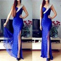 Party Dresses Elegant Royal Blue Lace Mermaid Evening 2021 Crystal Beaded Formal Dress With High Slit Vestidos De Festa Abiye
