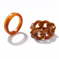 Vintage Resin Acrylic Ring Sets 2PCS Set Simple Wide Chunky Chain Geometric Round Rings For Women Birhtday Gifts