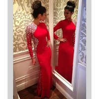 Red Long Sleeve Lace Evening Dresses Party Beaded Luxury Plus Size Women Girl Dinner African Celebrity Prom Formal Gowns