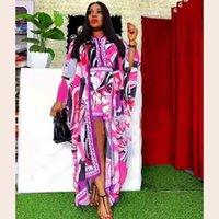 Kadın Eşofman Şifon 2-piece Set Afrika Giyim Moda Dashiki Baskılı Uzun Kollu Uzun Coat + Şort Plaj 2021