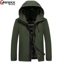 WWKK 2020 Erkek Giyim Kış Yeni Aşağı Ceket Moda Ince Kapşonlu Kalın Sıcak Beyaz Ördek Ceket ve Parka Erkek M-5XL