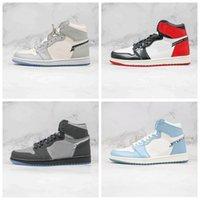 С коробкой Новый выпуск 1 OG Высокий макияж X Airs Womens мужские баскетбольные туфли серые белые голубые кристалл нижние кроссовки 40-46