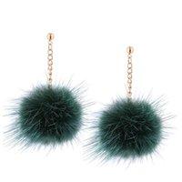 Dangle & Chandelier 8 Color Romantic Fur Drop Earring Earrings Tassel Pompom Ear Drops Long Fluffy Brincos Fashion Boucle D'Oreille For Wome