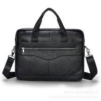 Briefcases Famous Design Briefcase Men's Genuine Leather Bag First Layer Cowhide Totes Handbag Zipper Horizontal Laptop