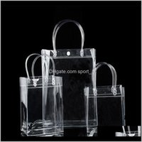 Wrap Event Festive Supplies Home Garden Drop Delivery 2021 Pvc Gift Handles Plastic Wine Packaging Clear Handbag Party Favors Bag Fashion Pp