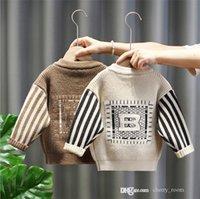 Niños niños diseñador cárdigan primavera otoño 2021 bebé niño pequeño niños tejido de manga larga suéter marea raya collar redondo casual Outwear Tops S1587