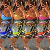 여성의 여름 새로운 패션 레저 핏 스트라이프 레이스 위로 jumpsuit 디자이너 u-neck 민소매 조끼 반바지 쇼 허리 슬림 rompers 의류