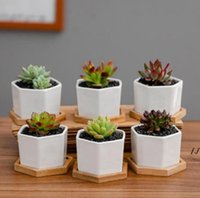 Ceramic Bonsai Pots Mini White Porcelain Flowerpots Succulent Garden Indoor Home Nursery Planters Sea Shipping AHB7103