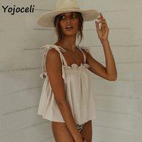 Yojoceli Sevimli Yay Camisole Tops Kadınlar 2020 Yaz Boho Beach Kırpılmış Yelek Geri Yay Camiş M9q0 #