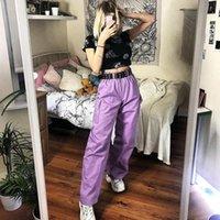 Pantalon Femme Capris Bstcochi 2021 Streetwear rose jambe large femme fille haute taille Palazzo avec poches dames pantalons été
