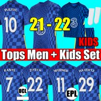Chelsea 4th 21 22 WERNER HAVERTZ CHILWELL ZIYECH Camisetas de fútbol 2021 2022 PULISIC camiseta de fútbol azul local KANTE MOUNT 4th Hombres Conjunto de niños Kits tops calcetines