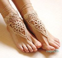 Crochet white barefoot sandals Nude shoes Foot jewelry Beach wear Yoga shoes Bridal anklet bridal beach accessories white lace sandals F08