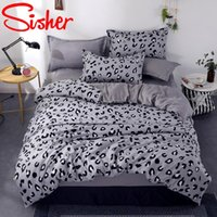 Conjuntos de cama Sisher Leopardo Rosa / Cinza Conjunto Frola de Roupa de Duveta Roupa de cama Lençóis Lençóis para Adulto Kids Bedclothes 3/4 Pcs Single Rainha