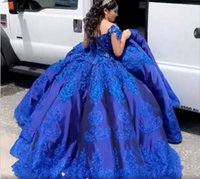 Royal Blue Satin Charro Quinceanera Dresses Cupcake Ball Gowns Prom 2021 Off The Shoulder Lace Crystal Mexican Sweet 16 Dress Vestidos De
