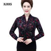 Xjxks 2020 ربيع جديد أزياء وشاح طوق زائد حجم النساء سترة عالية الجودة الطباعة 100٪ الصوف متماسكة سترة النساء البلوز