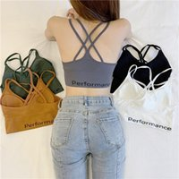Women's Tanks & Camis EasyCore Girl Letter Fashion Back Crossed Sexy Sling Vest With Pad Students Bra Tops