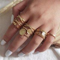 Кластерные кольца 8 штук / комплект мода набор женщин креативные цветы крест геометрические нерегулярные драгоценные камни мозга женские вечеринки свадебные украшения подарки