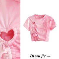 Новый дизайн женская мода сладкий розовый цвет галстук-умирающий влюбленность сердца вырез с короткими рукавами урожая Tees высокая талия футболка SML