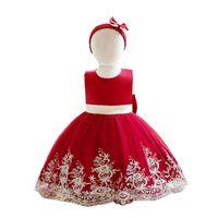 1st Birthday Dress For Baby Girls Dresses Kids Clothes Children Clothing Wedding Skirt Headbands 2Pcs Ball Gown B8228