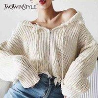 Twightwinstyle patchwork nappa maglieria maglioni per donne con cappuccio colletto a maniche lunghe a striped lace up maglione irregolare femmina nuovo LJ201114
