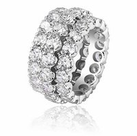 3 Row CZ Diamonds Rings 14K Gold Silver Bling Ring Micro Pave Cubic Zirconia for Men Women Hiphop Jewelry Gifts