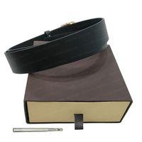 2021 cintura da uomo cinture da donna in pelle marrone in pelle grande fibbia in oro lettere di moda larghezza 3,8 cm con scatola sacchetto della polvere carta 105-120 cm