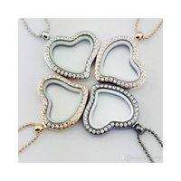 Medaillons Halsketten Anhänger SchmuckSchrystal Heart Living Memory Glas Halskette Floating Medailat Anhänger Modeschmuck 4 Farben Drop liefern