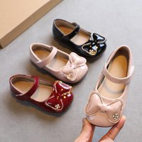 Flat Shoes Girls Mary Janes Spring Autumn Butterfly Knot Princess Crystal Patent Leather Dance Party Toddlers Wine Red