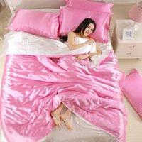 100% conjuntos de ropa de cama de seda satinada de buena calidad plana color sólido reina rey tamaño 4pcs cubierta de edredón + hoja plana + fundas de almohada Twin size1 737 R2